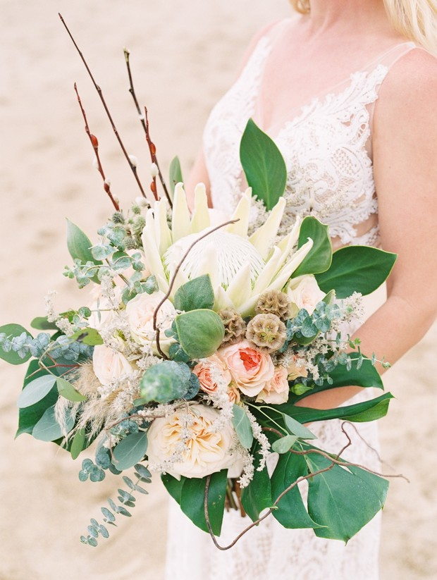 tropical king protea wedding bouquet