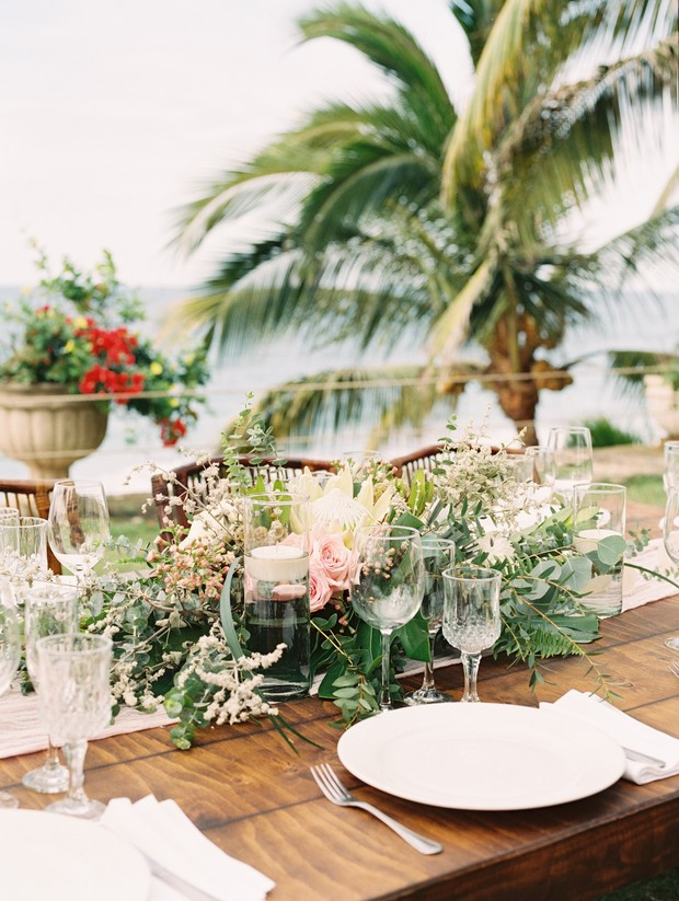 tropical wedding centerpiece