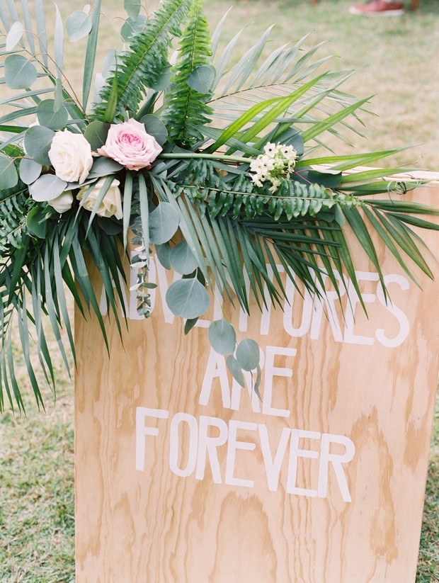 adventure wedding sign