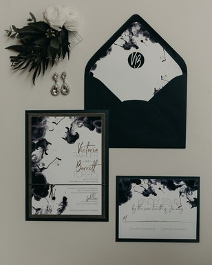 ink drop inspired black and white wedding invitations