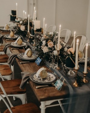 modern and chic wedding table decor with a rustic twist