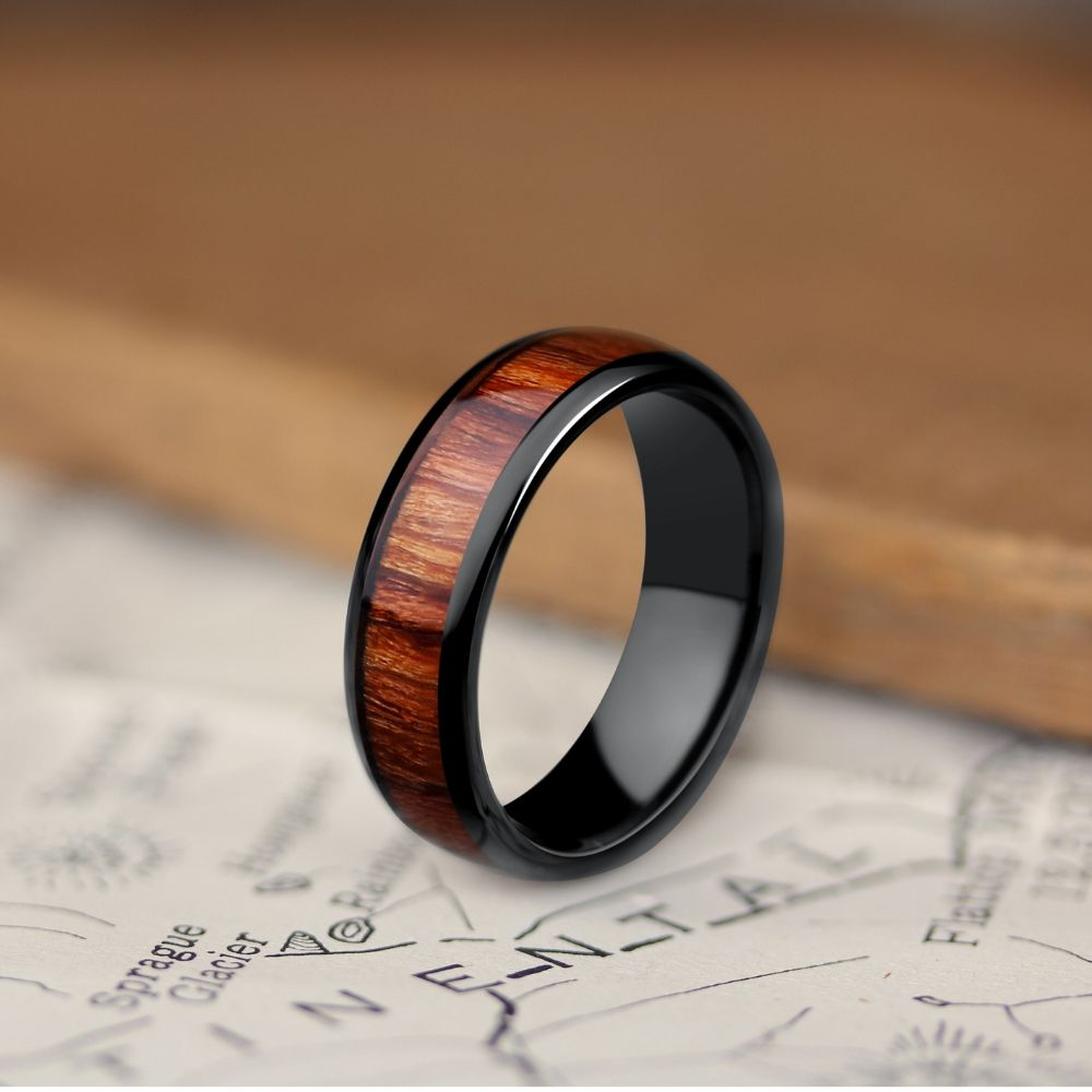 Mens Black Classic Wooden Wedding Ring. Available in widths 6mm and 8mm. These wooden rings are super durable and super comfy.