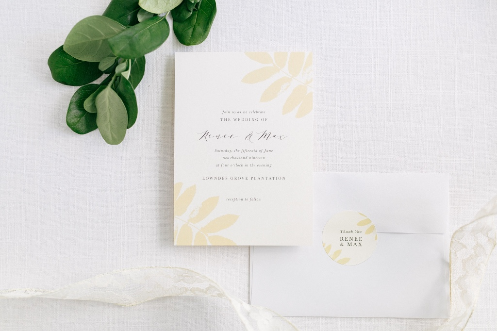 Our Gilded Leaf Wedding Invitation Suite adds warm tones to your boho summer wedding.