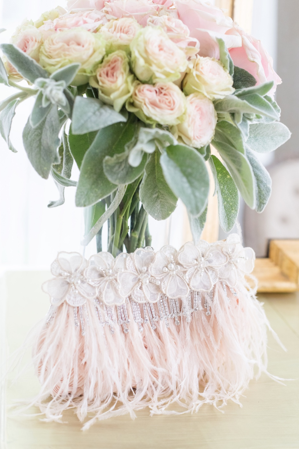 Pretty Blush and rhinestone details