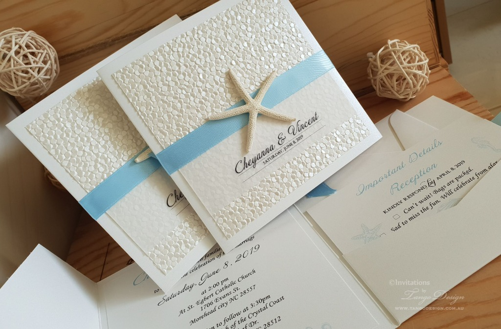 Wedding Beach Luxury Invitation Set: Handmade with 3 layers of paper on the front and as many cards as you need in the right pocket