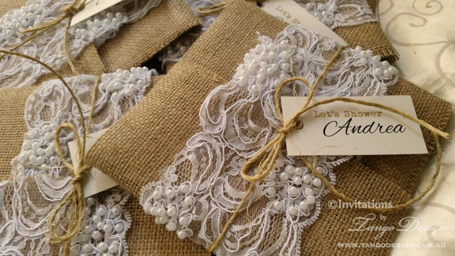 Gorgeous burlap wedding invitations for rustic, boho, country or shabby chic weddings. Wrapped with elegant beaded lace and finished