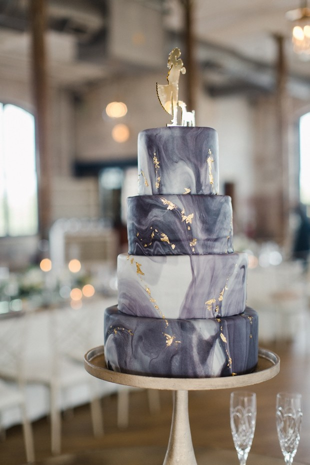 marble wedding cake with gold