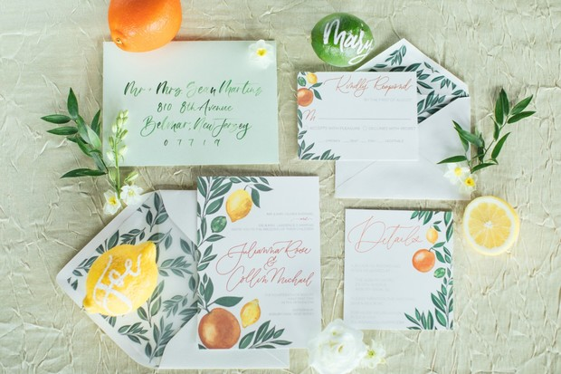 citrus themed wedding invitations
