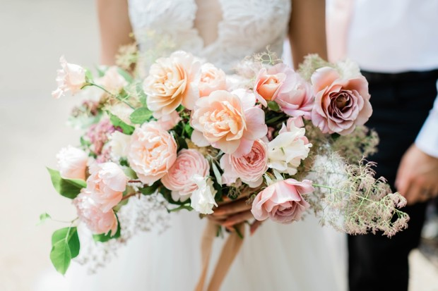 blush and pink wedding bouquet