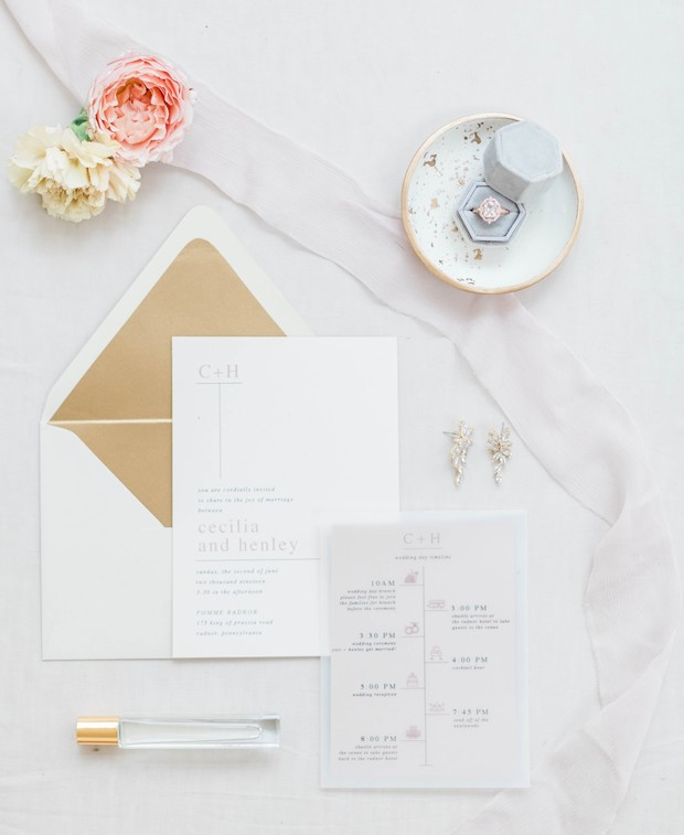 paired down modern wedding invitation suite