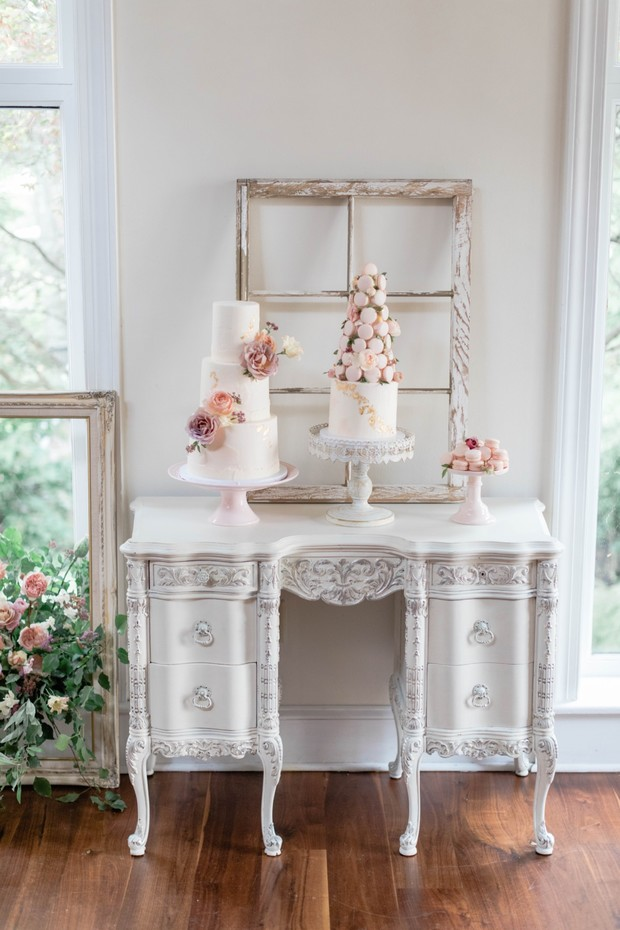 wedding dessert table with vintage vibe
