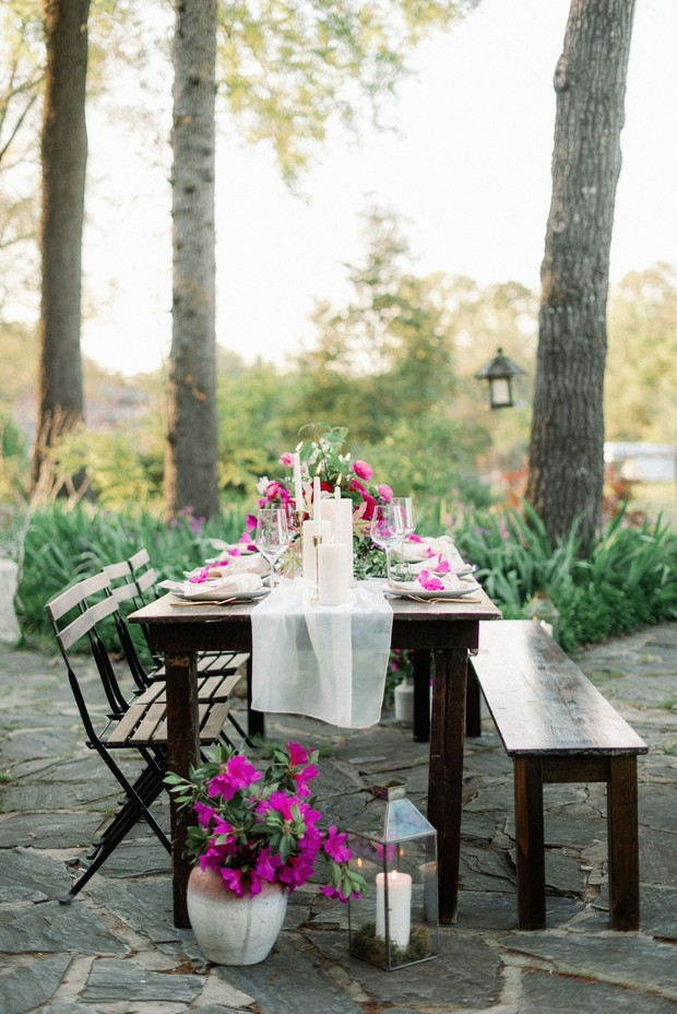 wedding reception with mismatched seating