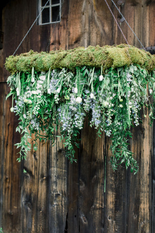 floral and moss wedding chandelier