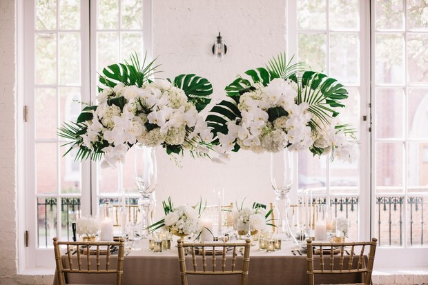 glam tropical wedding table decor