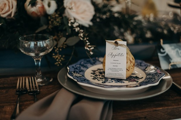 moody grey and blue place setting