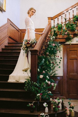 floral wedding decor for your stairs