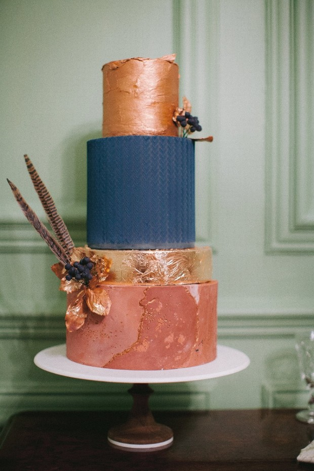 copper and blue marbled wedding cake