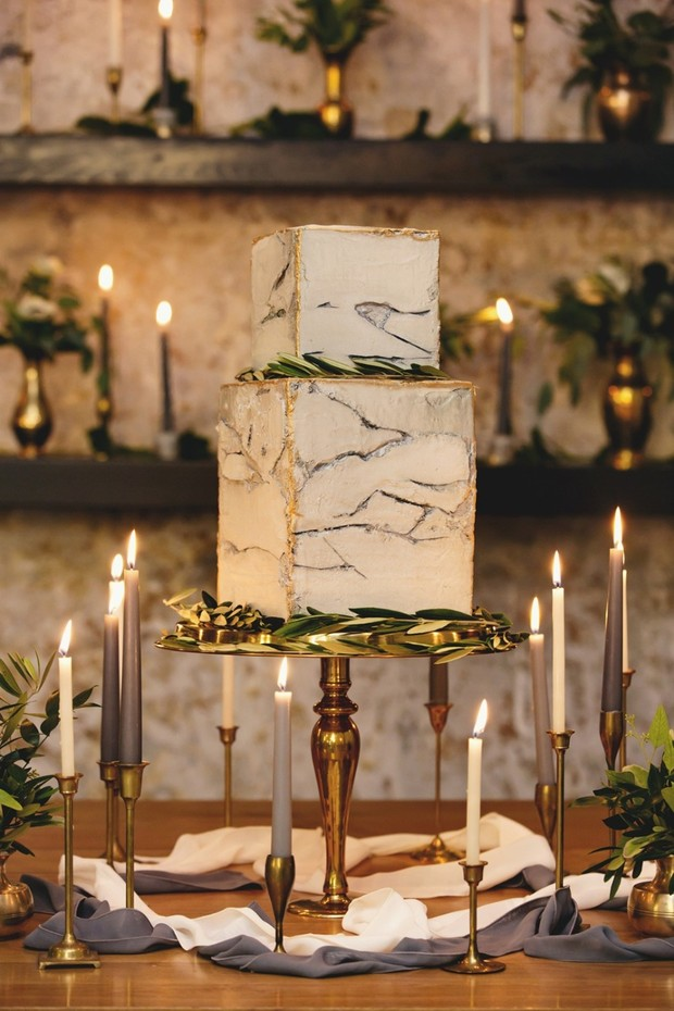 marble block wedding cake