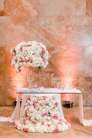 white and pink wedding sweetheart table