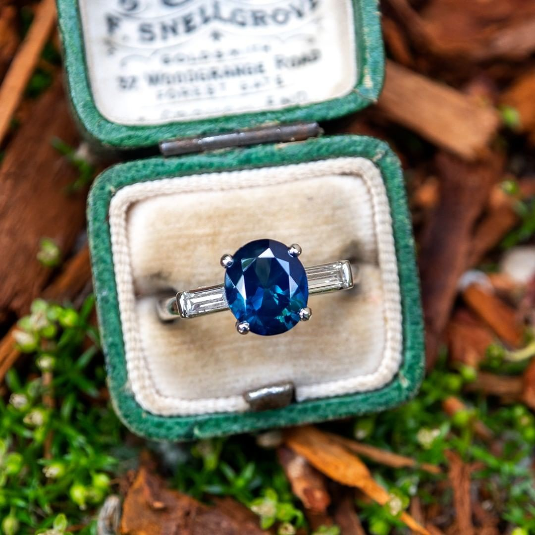2.3 Carat No Heat Teal Sapphire in Vintage Platinum Baguette Diamond Setting