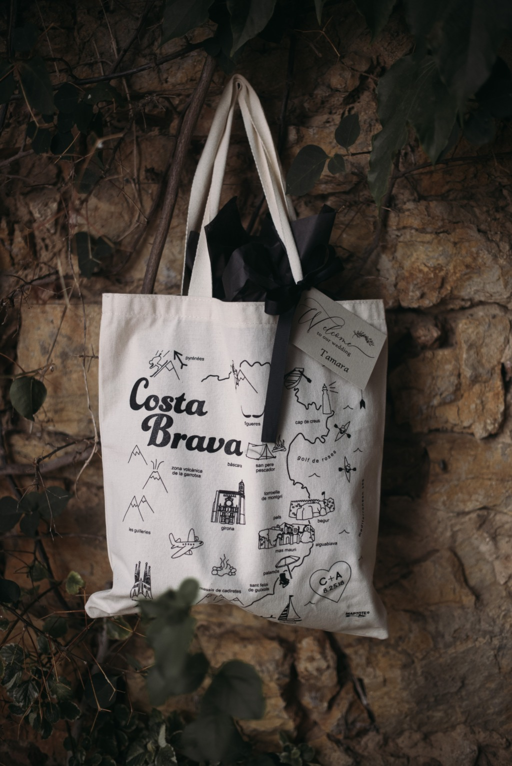 Learn more about creating a custom wedding tote for your destination wedding. We loved making this custom Costa Brava tote that celebrated
