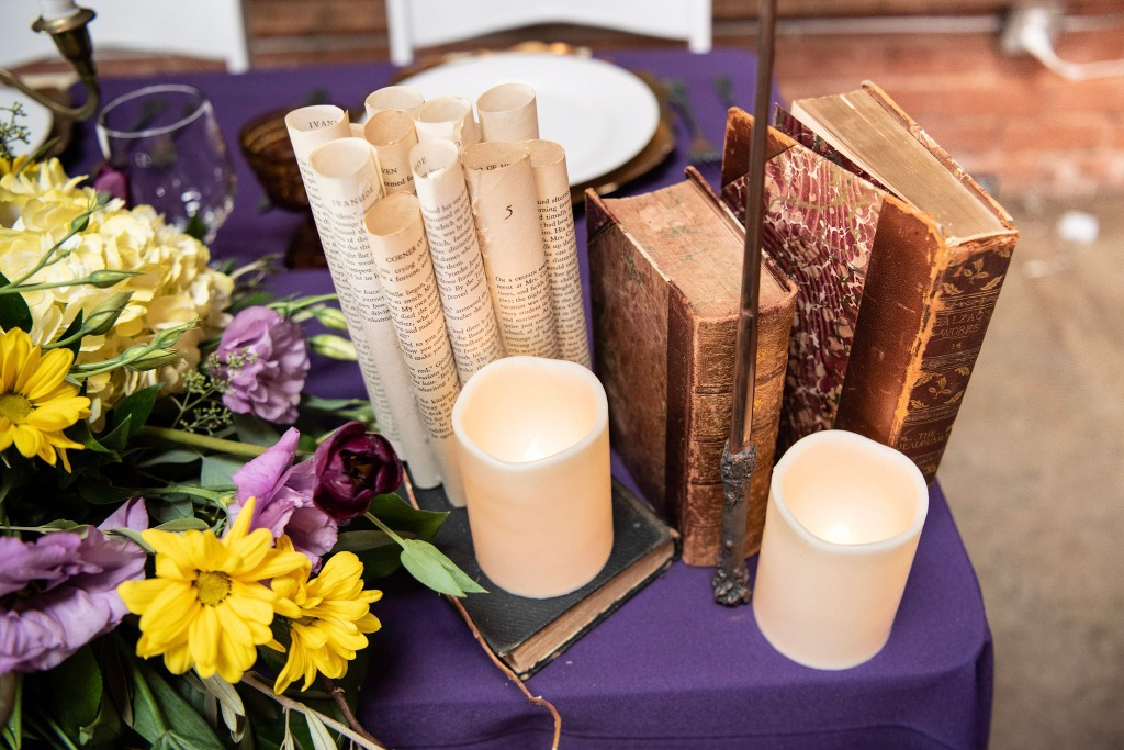 We love adding extra details to our sweetheart tables. These DIY book scrolls were the perfect touch to this magical Harry Potter inspired