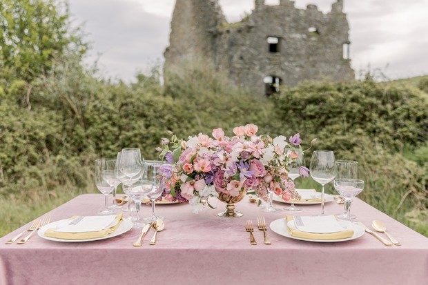 lilac and gold wedding reception table
