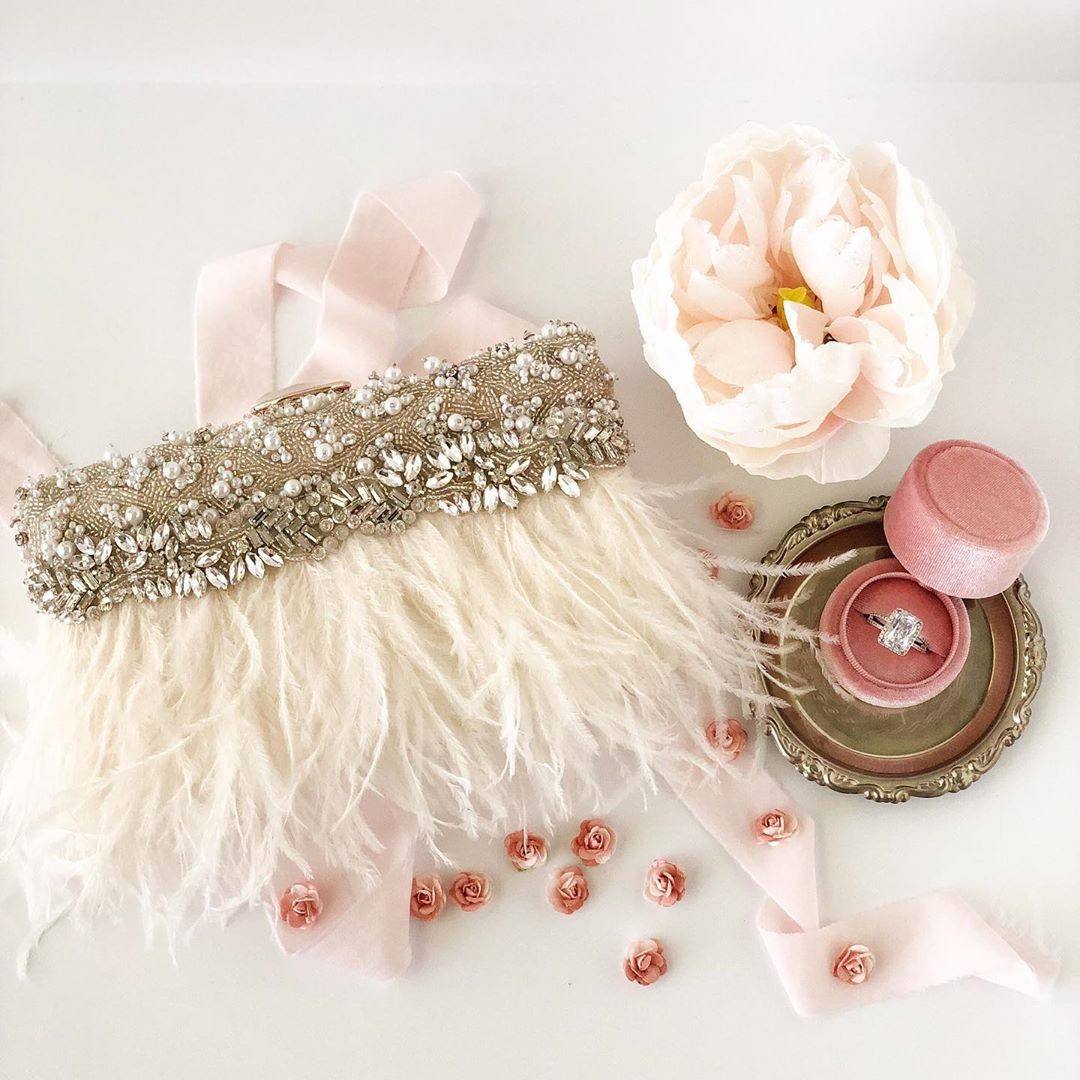 Brand New!! This bridal clutch is for the bride who loves a touch of Blush and glam.