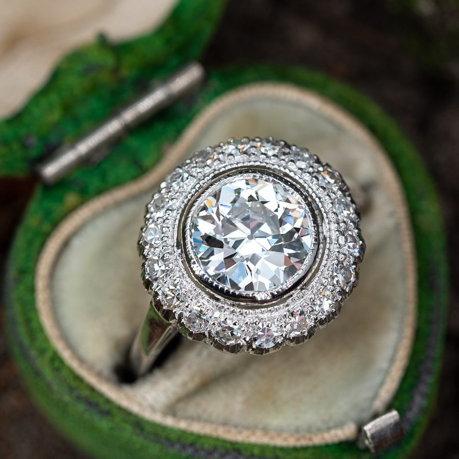 An antique 2 carat old European cut diamond grading F color and Internally Flawless.