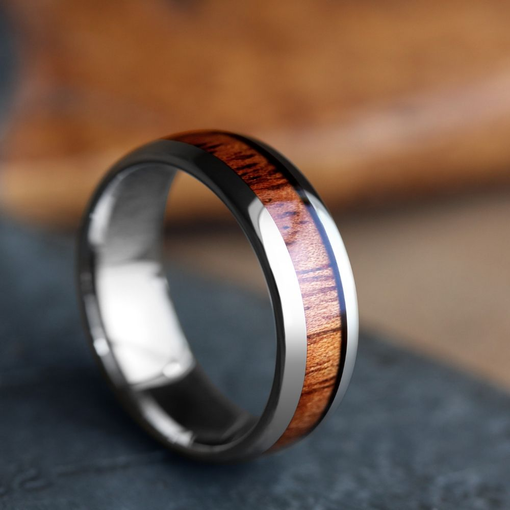The Classic - The Original Wooden Wedding Ring. Crafted out of tungsten carbide and inlaid with natural koa wood.