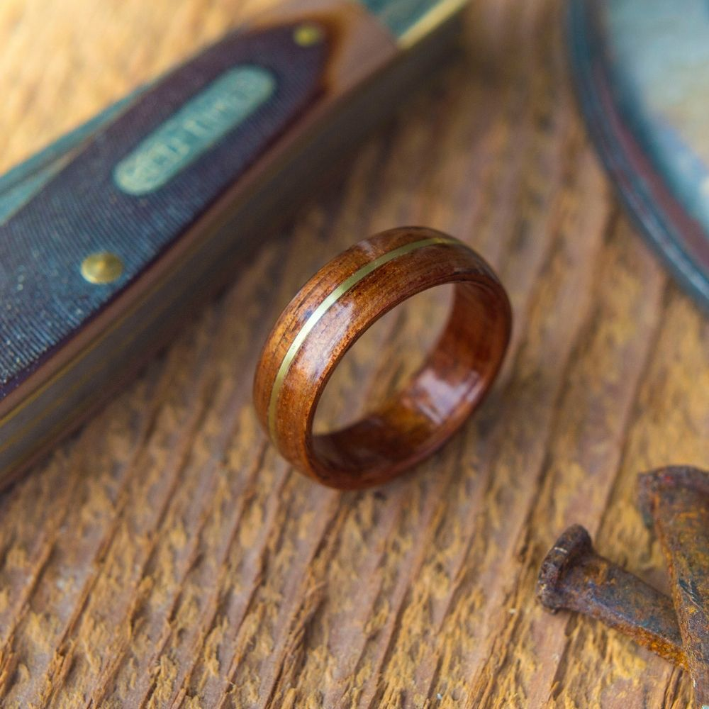 Mens handcrafted bentwood wedding ring with a copper inlay. Customizable. There will never be two rings alike.