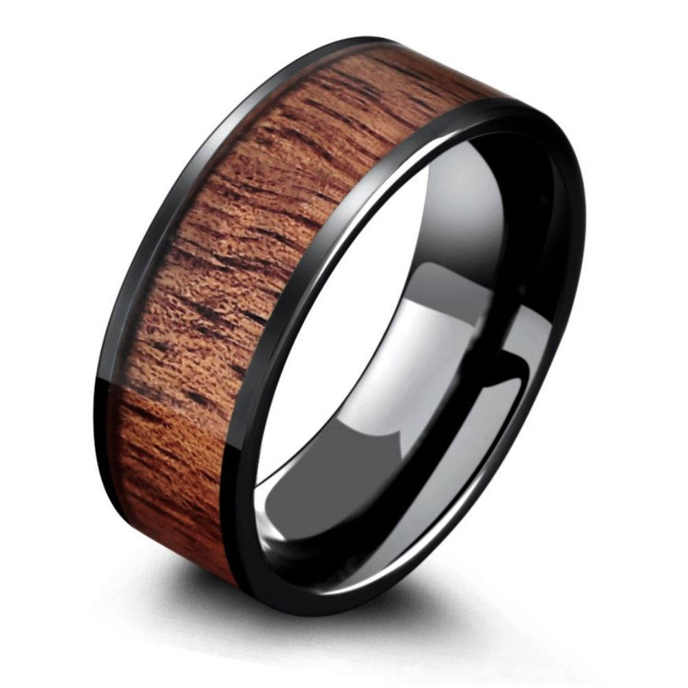 The Muskoka! Mens black ceramic wooden wedding ring. This ring is 8mm in width but is also available in 6mm. Over 36+ wooden rings