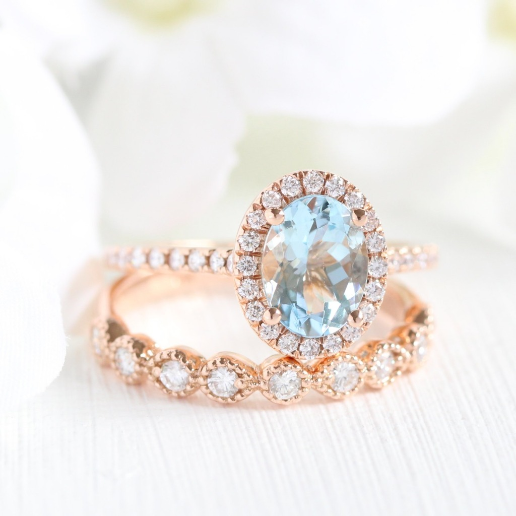 Rose Gold Bridal Set with Luna Halo Oval Cut Aquamarine in Pave Diamond Band and a Vintage Inspired Diamond Half Eternity Milgrain