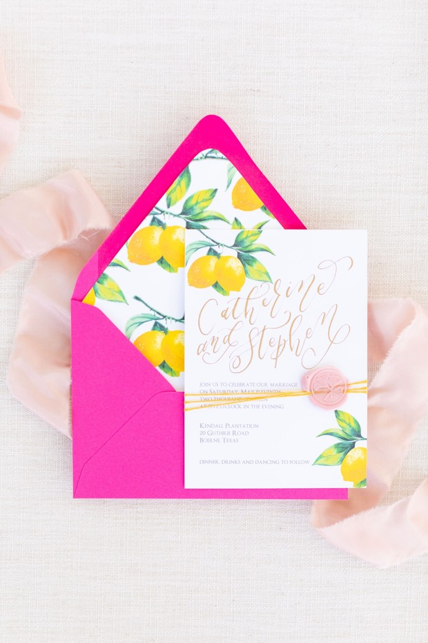 lemon wedding invite
