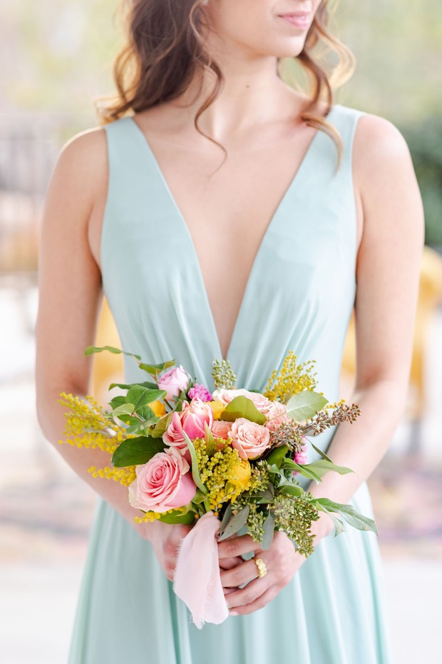 pink and yellow bridesmaid bouquet