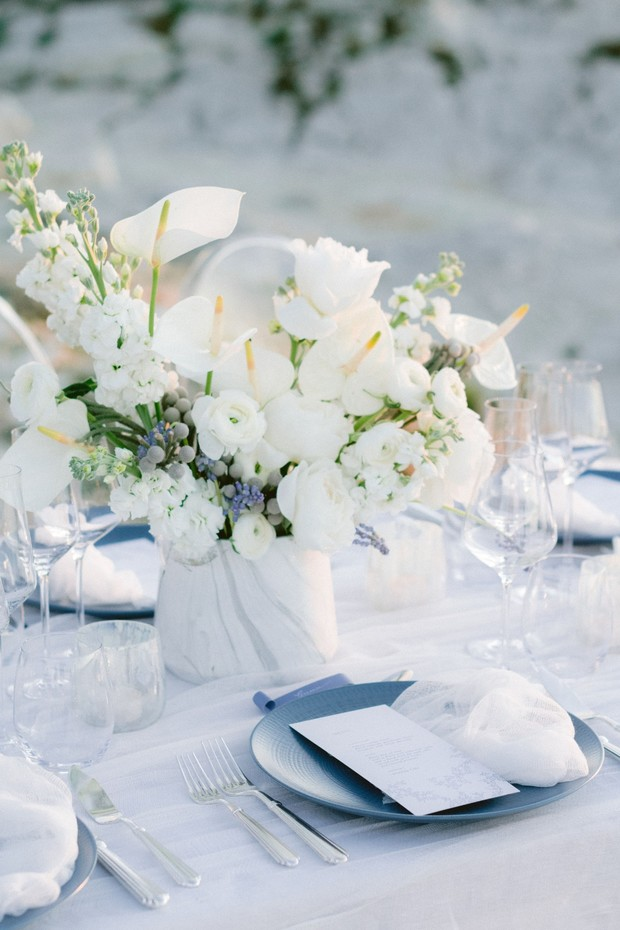 white and grey with blue accents wedding table decor