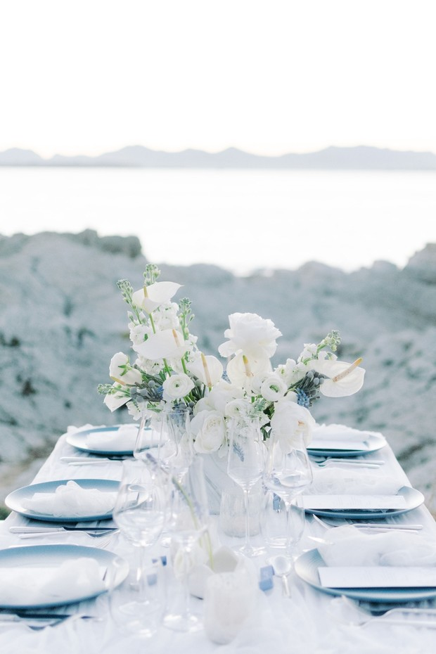 delicate blue and white table decor