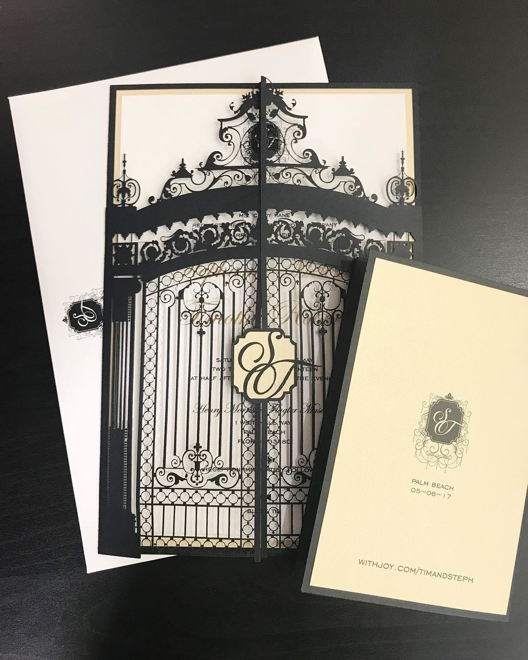 Flashback to our beautiful laser cut reproduction of the Flagler Museum gates wedding invitations. Does your venue have a spectacular