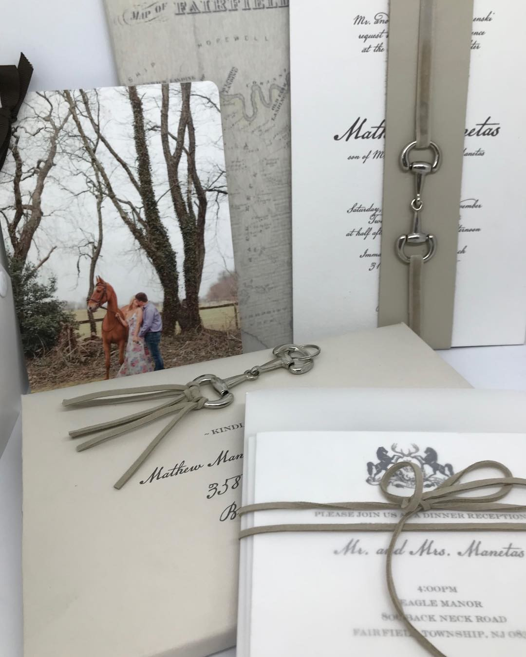 Our beautiful equestrian themed wedding invitation suite - we love all the textures..leather, cotton paper, vintage velvet ribbon
