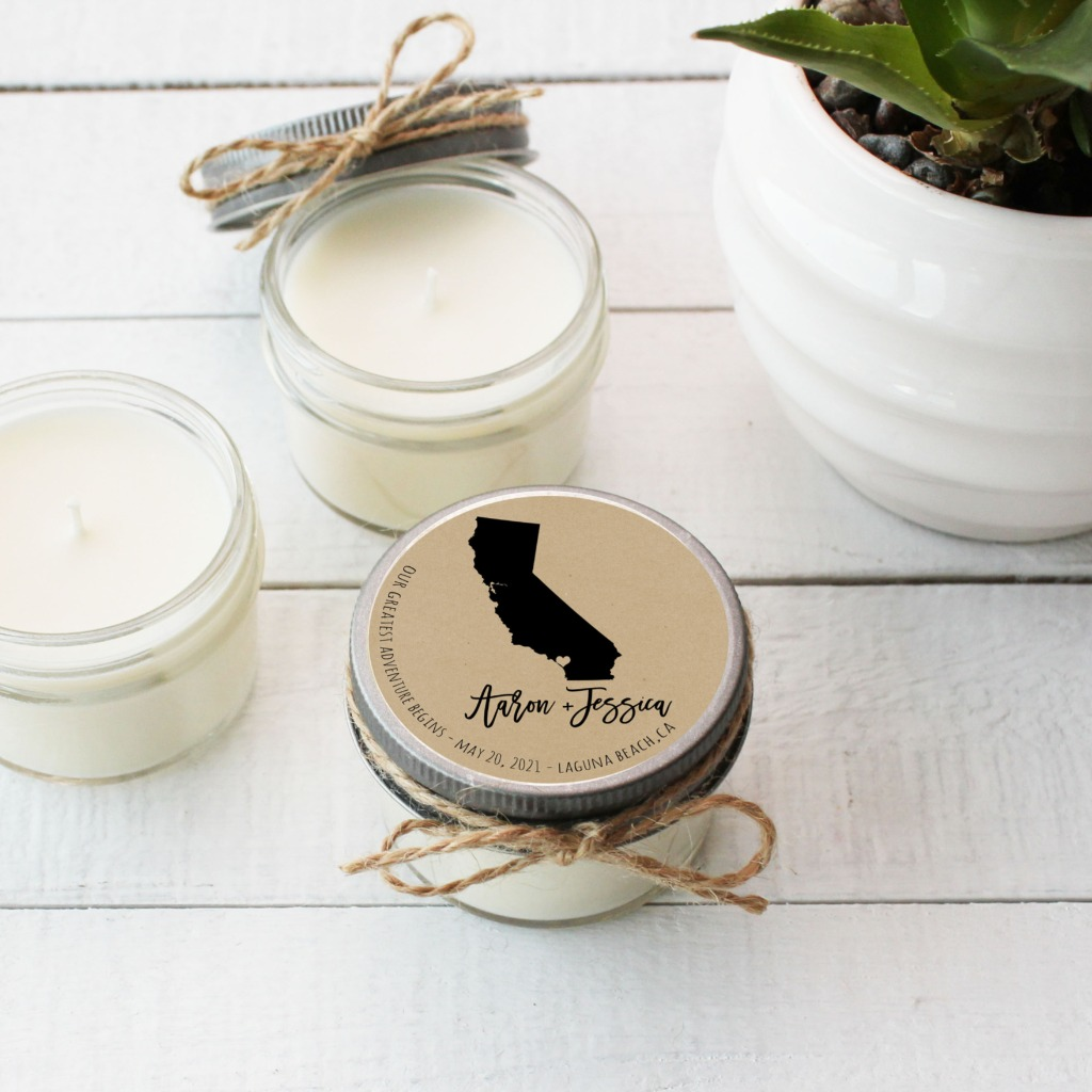 Celebrate where the adventure begins with our state candle favors!