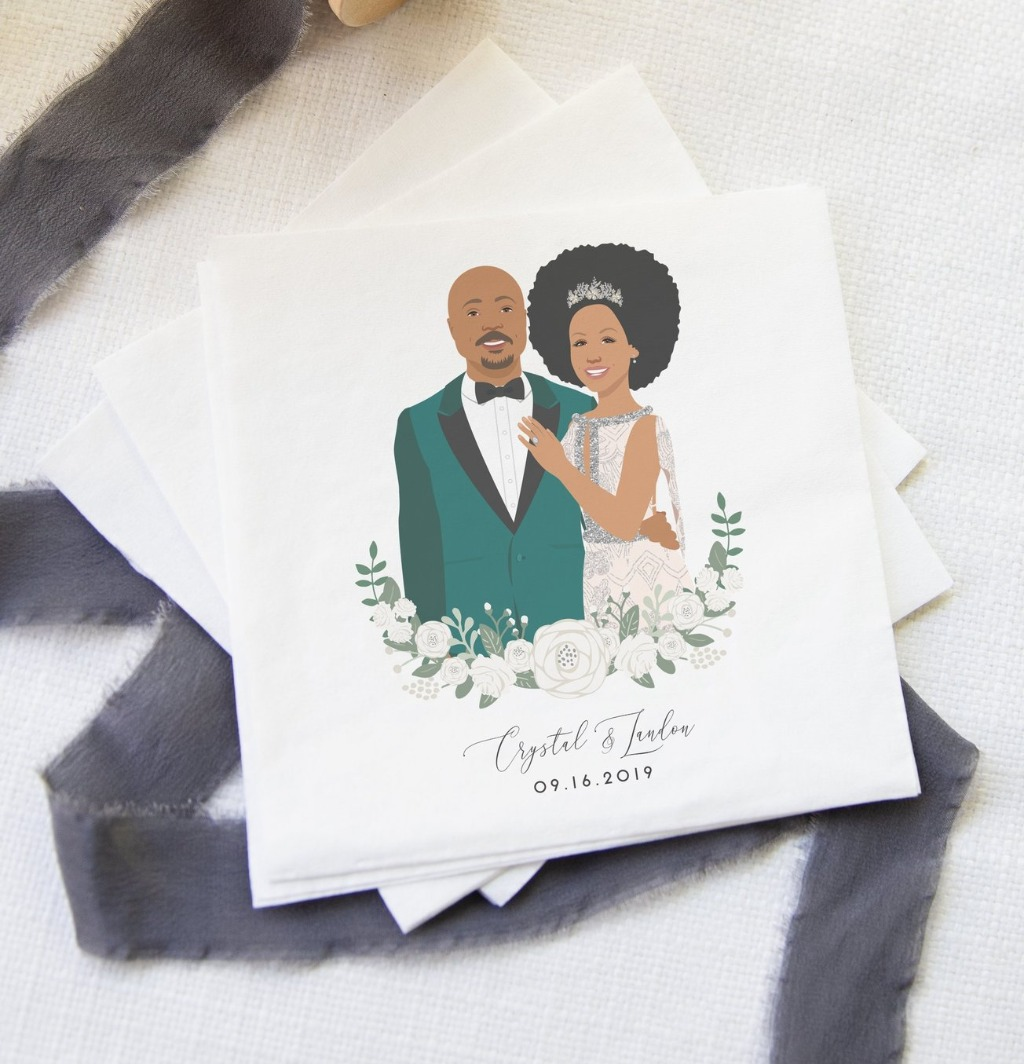 Our brand new couple portrait cocktail napkins are sure to be a huge hit at your wedding cocktail hour, rehearsal dinner, or even bridal