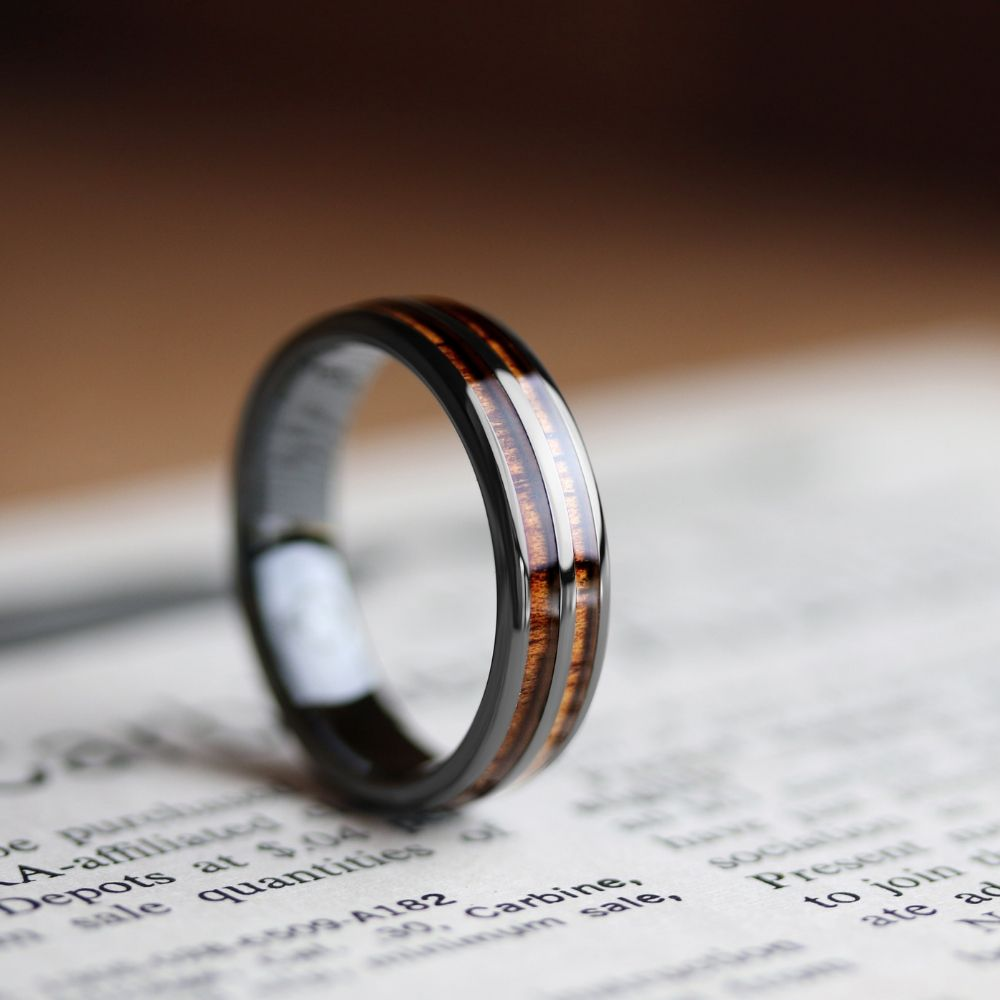 Mens Wooden Barrel Ring. This mens wooden wedding ring is crafted out of black high tech ceramic and inlaid with natural koa wood.