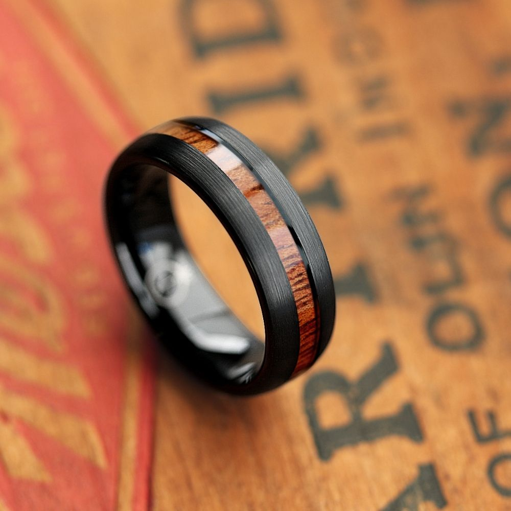 Mens Black Forest Woodland Wedding Ring. This men's wooden wedding ring features a black tungsten carbide core inlaid with a natural