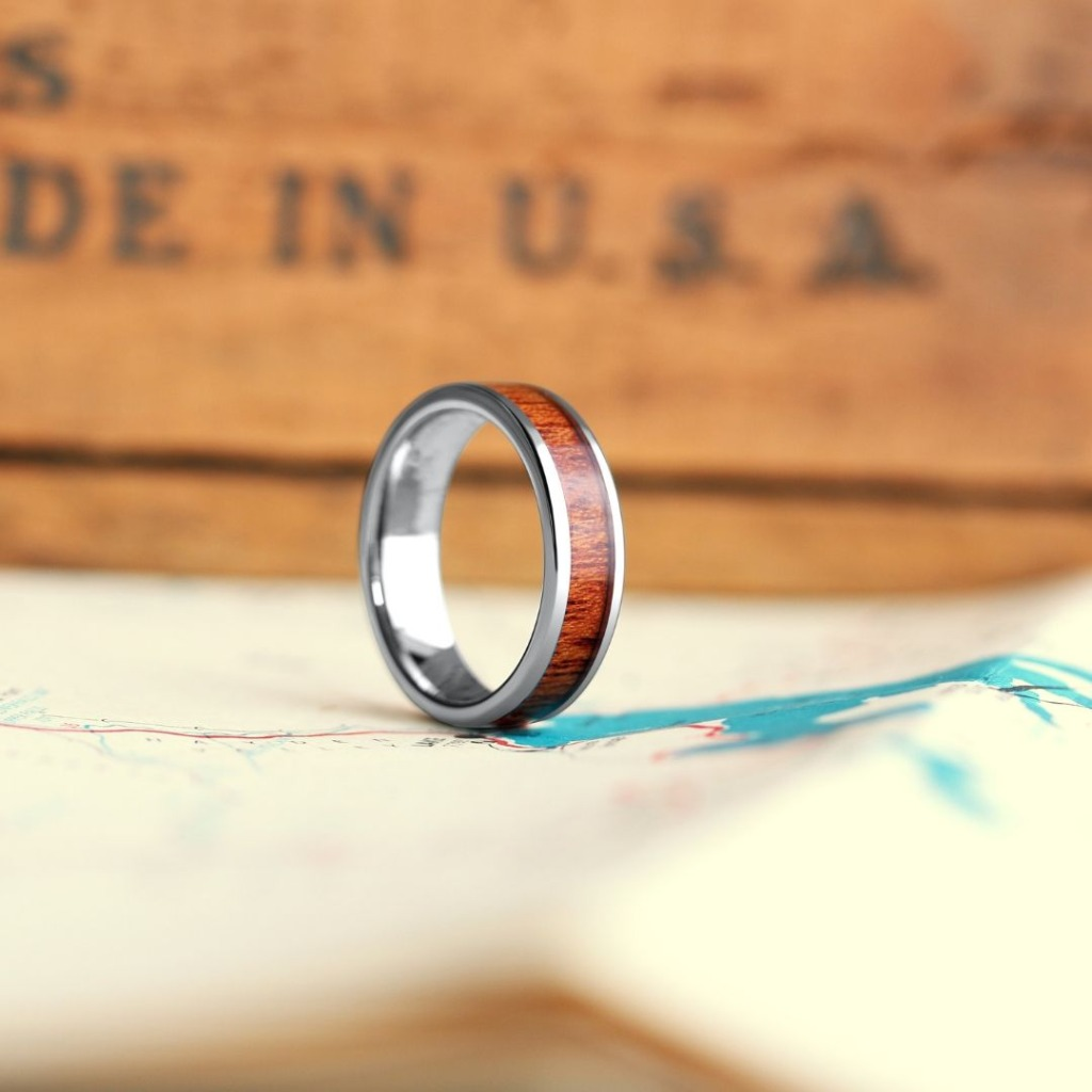 Silver Wood- Mens' wooden wedding ring. Light, rugged and comfortable. Built for the outdoorsman. Over 36+ wooden rings to pick from