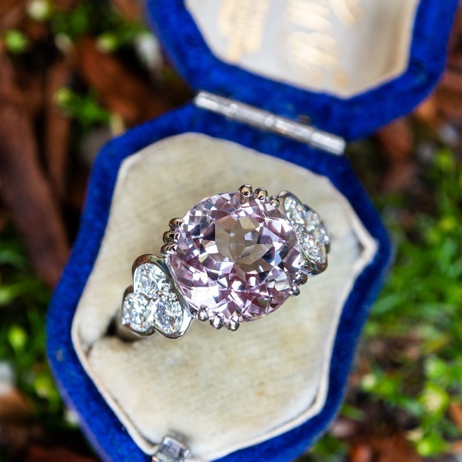 Morganite and Diamonds in 18k White Gold