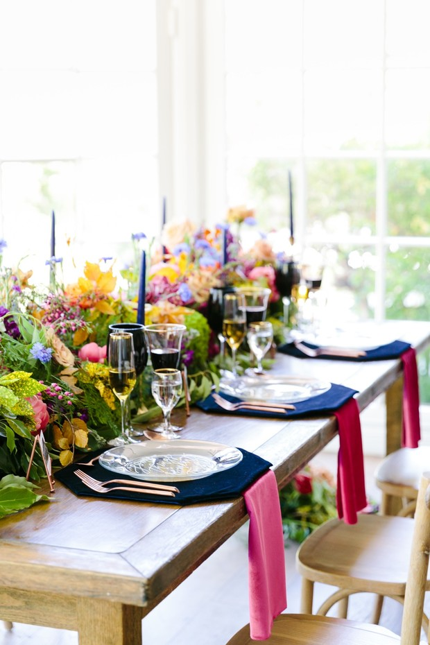rainbow themed wedding table decor