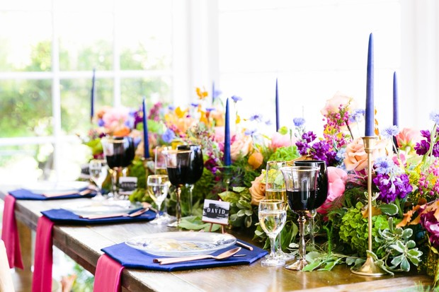 rainbow wedding table decor