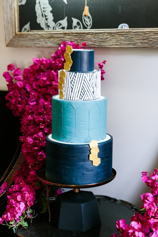 modern geometric themed wedding cake