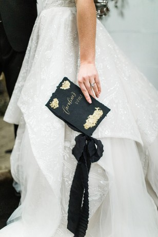 black and gold wedding vow book