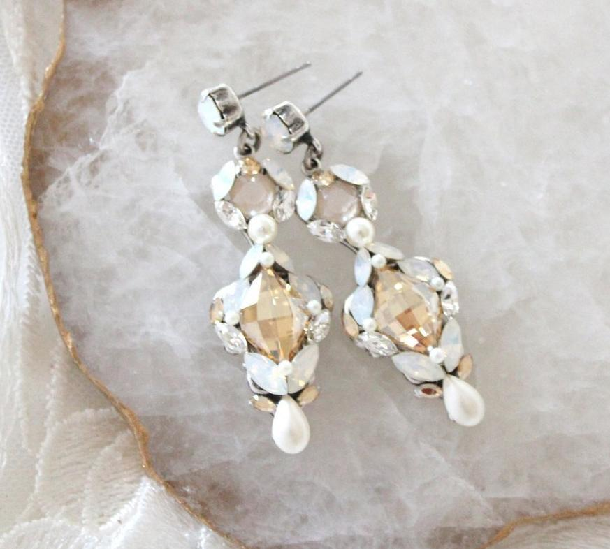 Handcrafted antique silver vintage style Bridal earrings created with Swarovski crystals and pearls